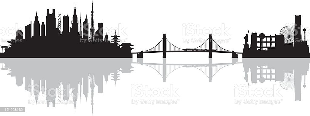 Tokyo (All Buildings Are Complete and Moveable) royalty-free stock vector art