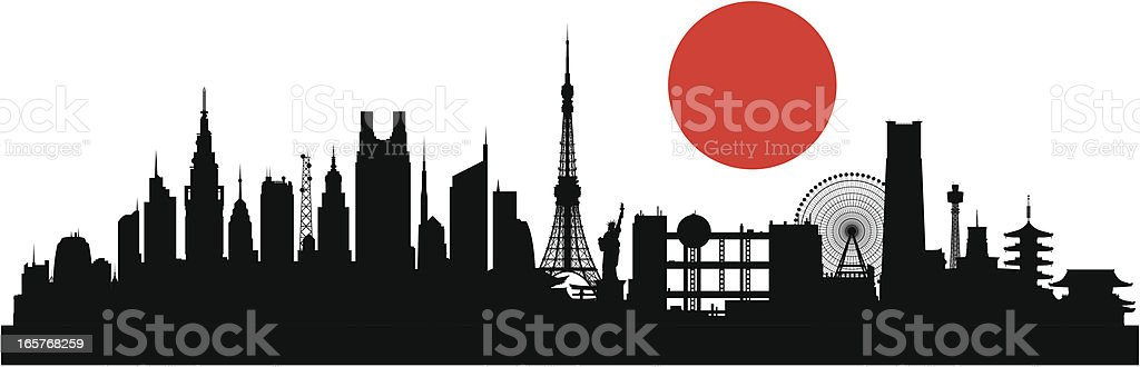 Tokyo (Buildings Are Detailed, Moveable and Complete) vector art illustration