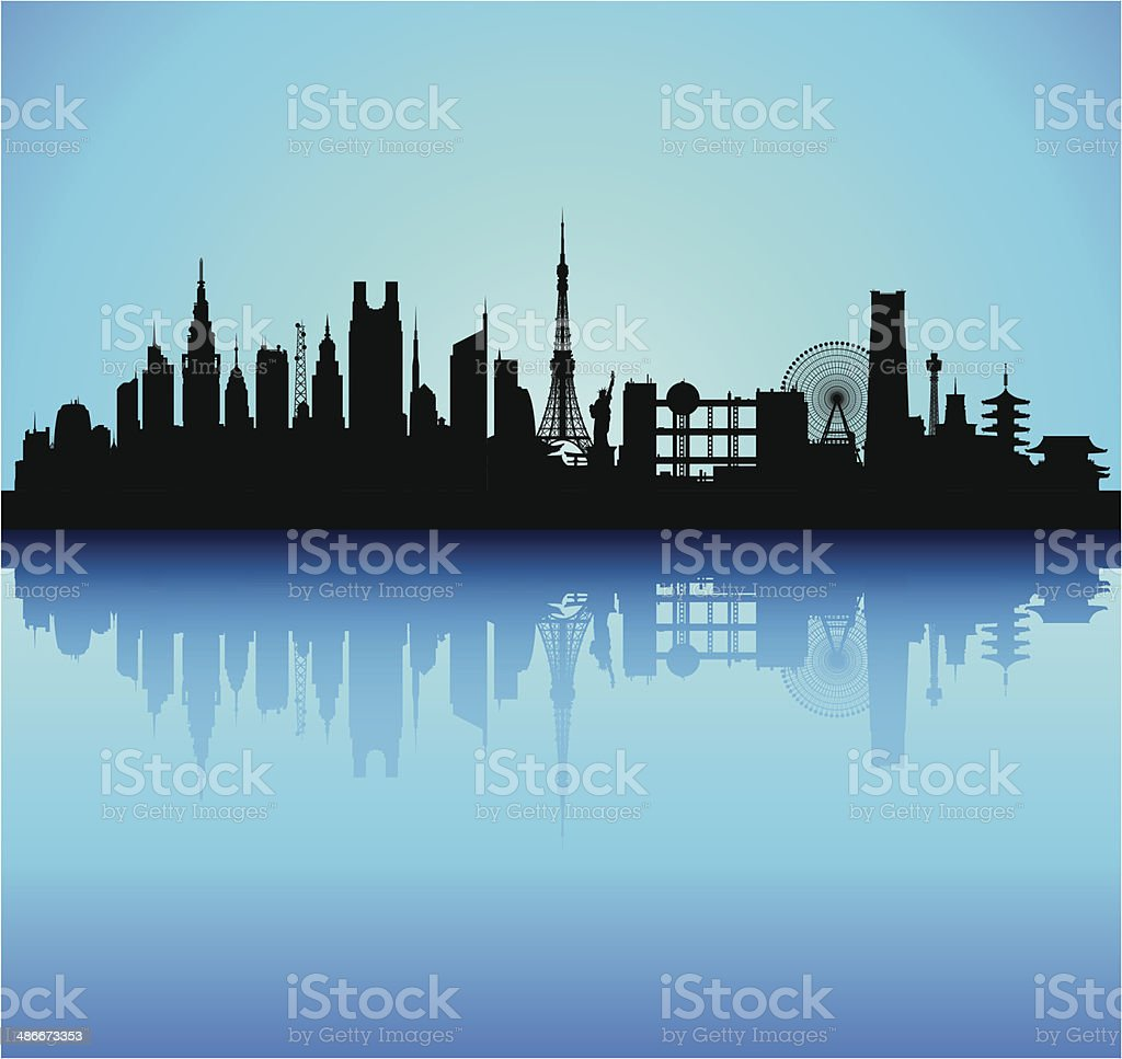 Tokyo (Detailed, Moveable Buildings) vector art illustration