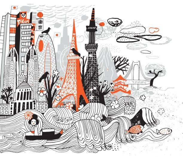 tokyo - asienreisen stock-grafiken, -clipart, -cartoons und -symbole