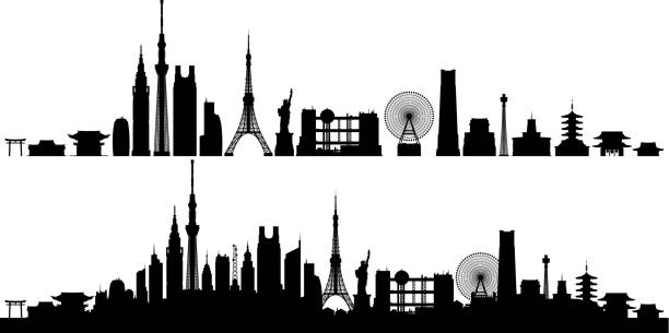 Tokyo (All Buildings Are Complete and Moveable) Tokyo. All buildings are complete and moveable. tokyo stock illustrations