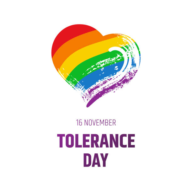 Tolerance day. Bright hand drawn illustration isolated on white background - text, rainbow textured heart with flag. Gay pride LGBT symbol. vector art illustration