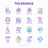 Tolerance thin line icons set: gender, racial, national, religious, sexual orientation, educational, interclass, for disability, respect, self-expression, human rights, democracy. Vector illustration.