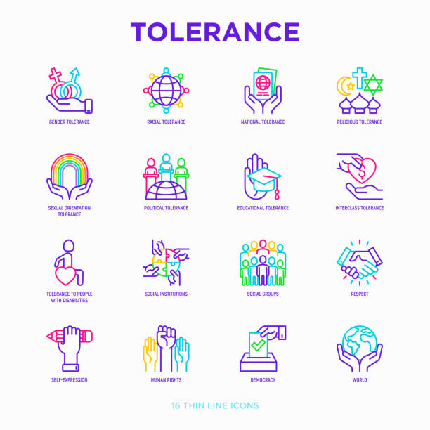 Tolerance thin line icons set: gender, racial, national, religious, sexual orientation, educational, interclass, for disability, respect, self-expression, human rights, democracy. Vector illustration. vector art illustration