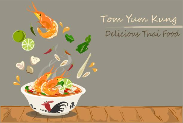ilustraciones, imágenes clip art, dibujos animados e iconos de stock de tom yum kung thai comida caliente y picante sopa vector diseño. - comida tailandesa
