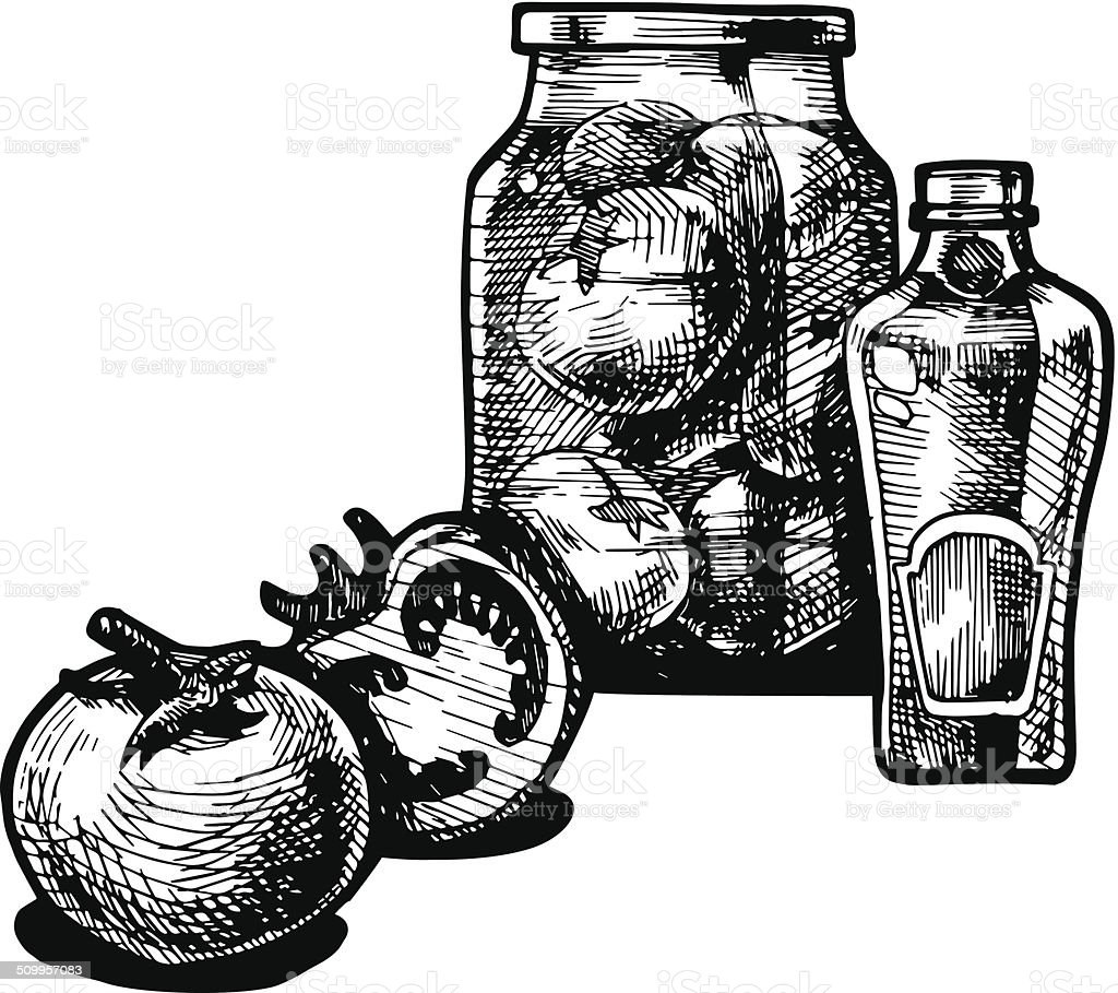 Tomato and ketchup vector art illustration