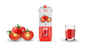 Tomato, carton with tomato juice, glass cup of fresh juice. Isolated on a white background. Realistic 3d. Cardboard packaging template. Vector illustration. EPS