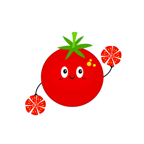 tomato cartoon character with a cute smile vector art illustration