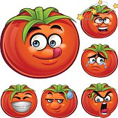 Cartoon tomato set including: