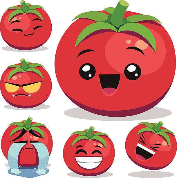 tomato cartoon set b - tomato stock illustrations