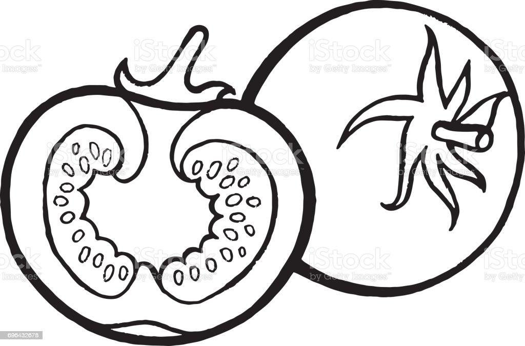 Tomatenfärbung Seite Handgezeichnete Illustrationen Für Erwachsene ...