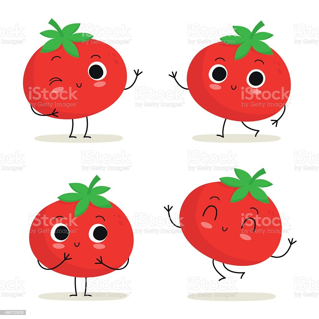 Tomato Cute Vegetable Character Set Isolated On White ...