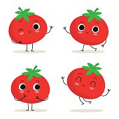 Tomato. Cute vegetable vector character set isolated on white