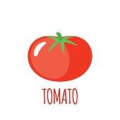 Tomato icon in flat style on white background