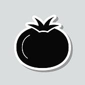 istock Tomato. Icon sticker on gray background 1304582592