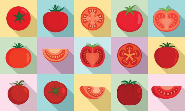 Tomato icons set, flat style Tomato icons set. Flat set of tomato vector icons for web design tomato stock illustrations