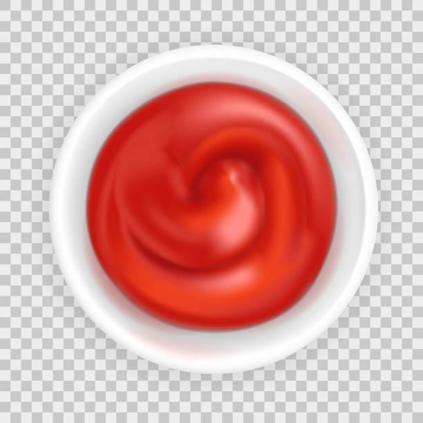 tomaten-ketchup in einer schüssel - dressing stock-grafiken, -clipart, -cartoons und -symbole