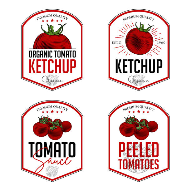 Tomato ketchup, sauce badge label design set. Vector hand drawn illustration of tomatoes in engraving technique. Vintage shield form templates for tomato sauce packaging. tomato sauce stock illustrations