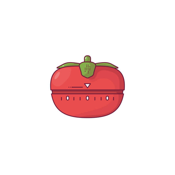 Tomato kitchen timer Red tomato kitchen timer. Tomato timer with green leaves. Red modern timer for time management and workflow. Outline vector image. Line style vector illustration. tomato sauce stock illustrations