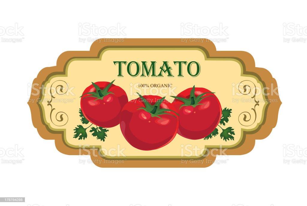 Tomato label. Retro sticker. royalty-free stock vector art