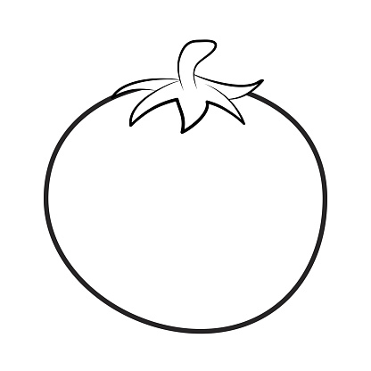 Tomato Outline For Colouring Book Isolated On White