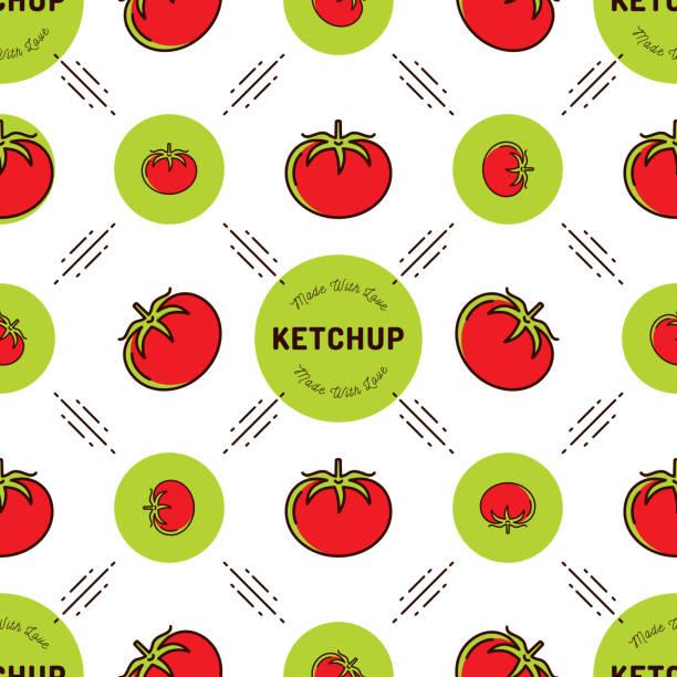 Tomato pattern Ketchup label. Seamless background branding of tomato paste or sauce Tomato pattern Ketchup label. Seamless background branding of tomato paste or sauce, Vector outline illustration tomato sauce stock illustrations