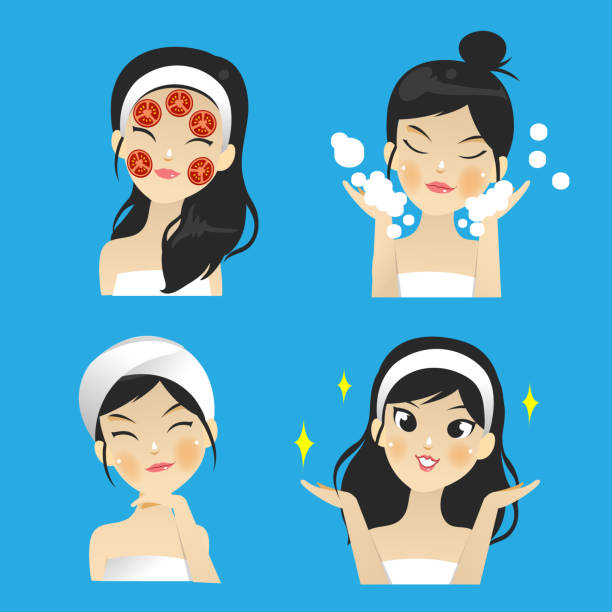 番茄修復臉上的皺紋。 - 美麗的人 幅插畫檔、美工圖案、卡通及圖標