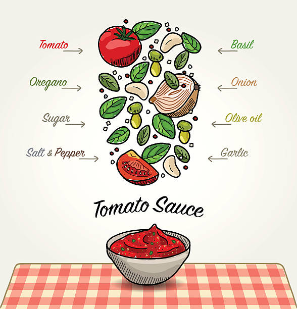 Tomato Sauce Ingredients Vector sketched illustration of Italian tomato sauce in bowl on table. Ingredients of sauce are falling down to bowl. There are tomato, onion, garlic, basil leaves, oregano leaves, olive oil, sugar, salt and pepper. Illustration is isolated on white background. tomato sauce stock illustrations