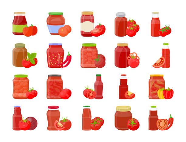 Tomato sauce, Ketchup in Glass Jar with Vegetable Flat Icons This is flat icons set containing tomato sauce or ketchup in glass jar with vegetables flat icons pack. Eating healthy and delicious food is the requirement of every person.if your subject is like spicy food, healthy food etc grab this pack and use these colorful creative icons in your project. tomato sauce stock illustrations