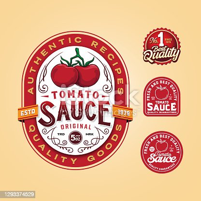 istock Tomato sauce logo label badge 1293374529