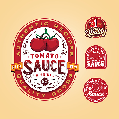 Tomato sauce label with additional graphic for packaging