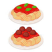 Cartoon plates of spaghetti with vegetarian tomato sauce and meatballs. Classic pasta dish vector illustration.
