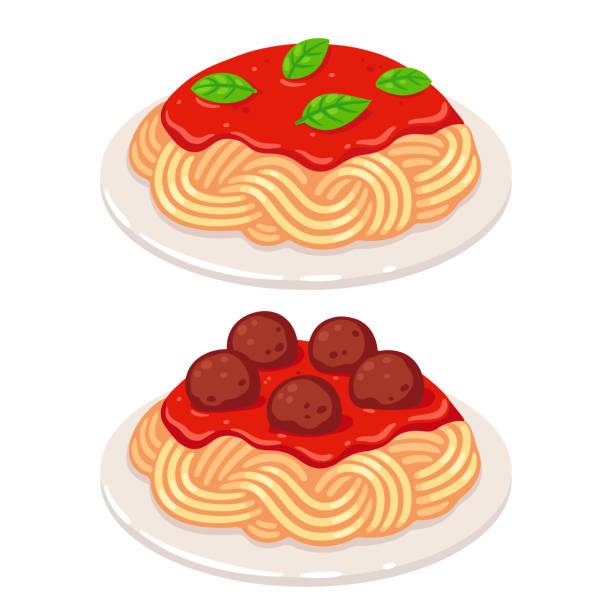 Tomato sauce spaghetti Cartoon plates of spaghetti with vegetarian tomato sauce and meatballs. Classic pasta dish vector illustration. tomato sauce stock illustrations