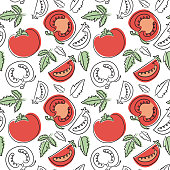 Tomato seamless pattern. Hand drawn fresh vegetables. Vector sketch background. Doodle wallpaper. Red and green print