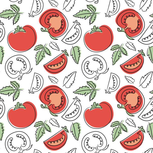 トマトのシームレスなパターン。手には、新鮮な野菜が描かれました。スケッチのベクトルの背景。落書きの壁紙。赤と緑の印刷 - トマト点のイラスト素材/クリップアート素材/マンガ素材/アイコン素材
