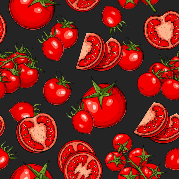 tomato seamless pattern - cherry tomato stock illustrations