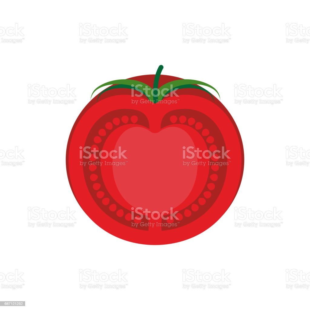 Tomato slice isolated. Red juicy vegetables on white background vector art illustration