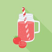 Tomato smoothie in mason jar, flat design vector illustration with long shadow