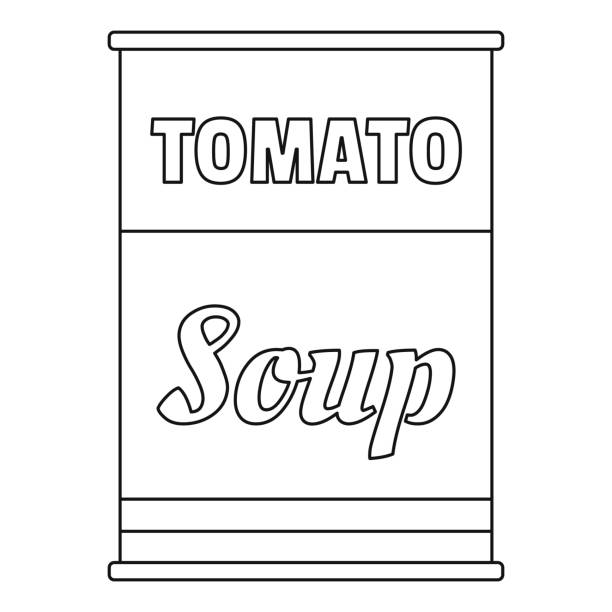 ilustrações de stock, clip art, desenhos animados e ícones de tomato soup can icon, outline style - lata comida gato