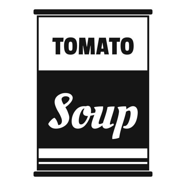 ilustrações de stock, clip art, desenhos animados e ícones de tomato soup can icon, simple style - lata comida gato