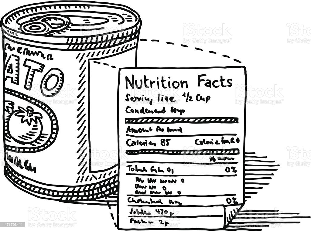 Tomato Soup Can Nutrition Facts Label Drawing Vector Art Illustration
