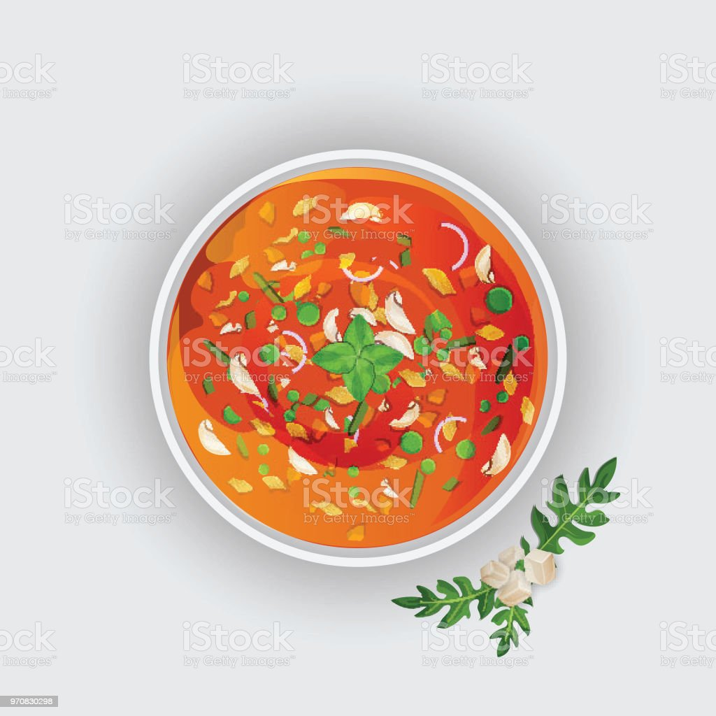Soupe de tomate sur fond blanc. - Illustration vectorielle