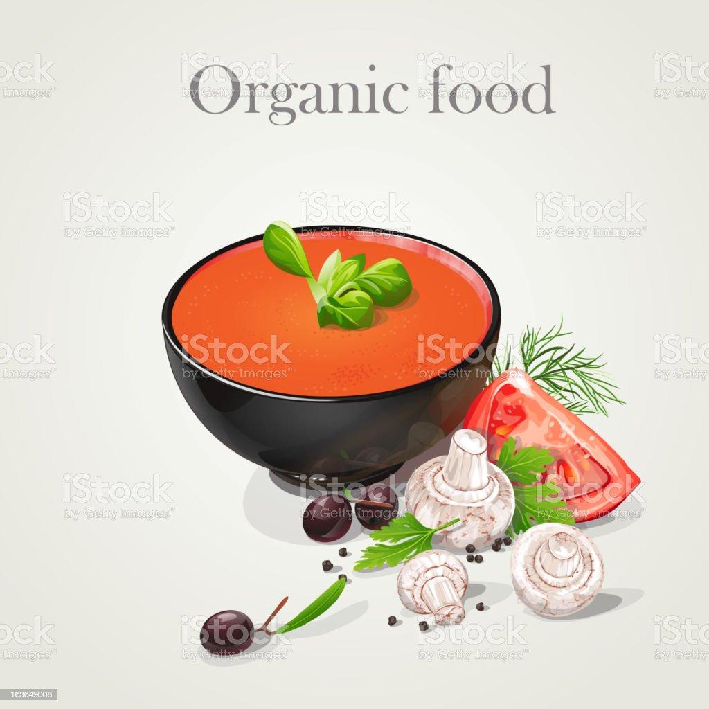 tomato soup with fresh vegetables-EPS10 royalty-free stock vector art