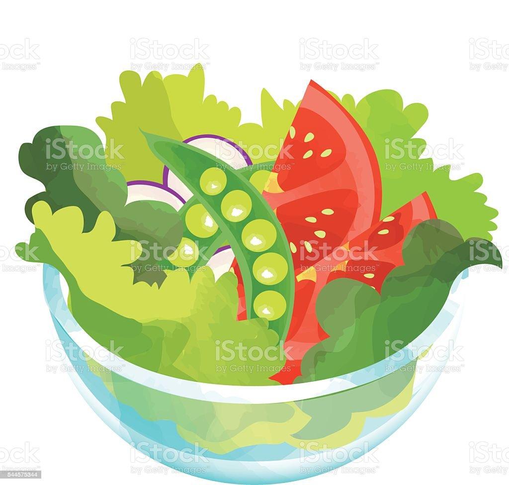 トマトとスナップエンドウ豆のサラダ ベクターアートイラスト
