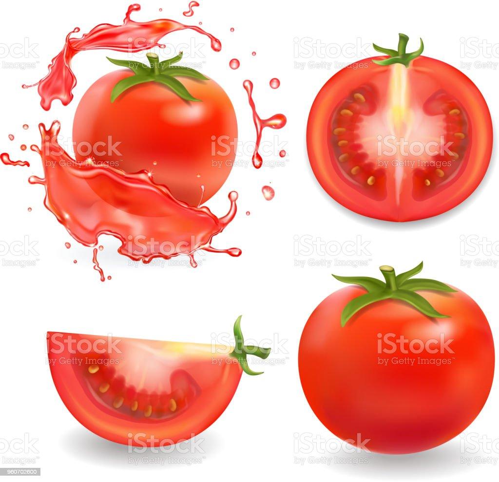 トマト分離の現実的なイラスト全体スライスしたトマト ジュースのスプラッシュ 3dのベクターアート素材や画像を多数ご用意 Istock