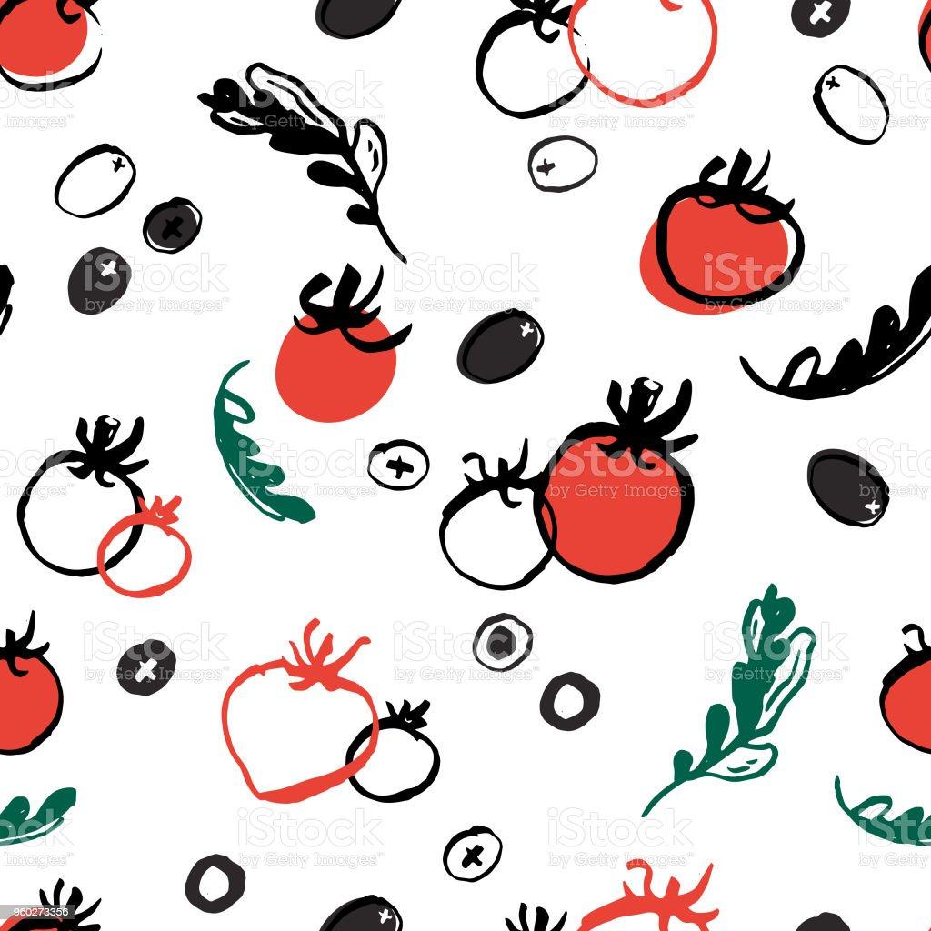 Tomatoes, Olives and Arugula seamless vector pattern. vector art illustration