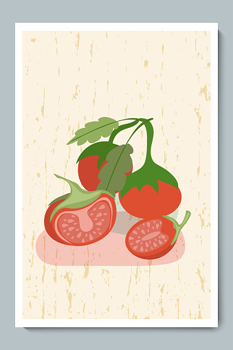 Tomatoes Set. Fresh Colorful Sliced and Whole Vegetable with Simple Shapes, Green Leaves, Gold Texture Background.