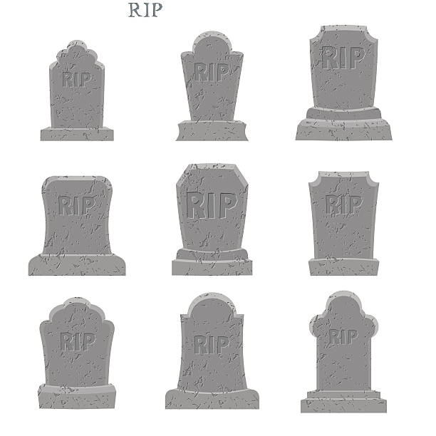 tomb set. ancient rip. collection of gravestones. grave on white - tombstone stock illustrations, clip art, cartoons, & icons