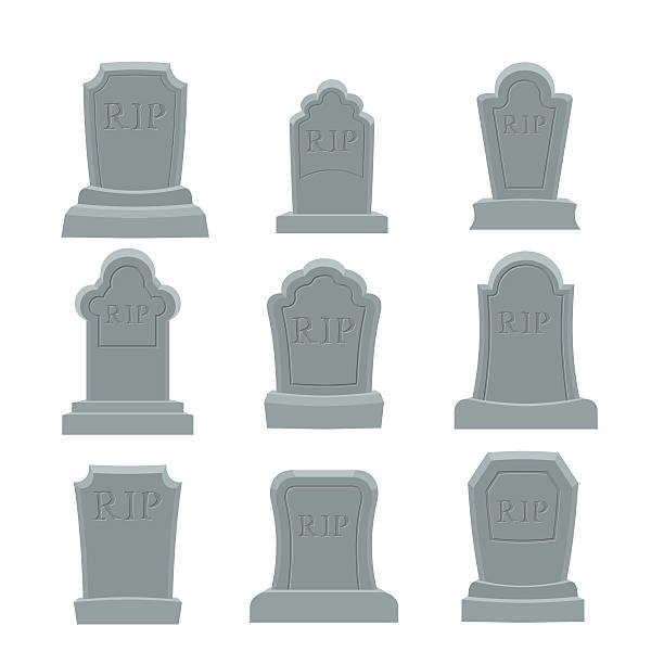 tomb set. ancient rip. collection of gravestones. grave on white - tombstone stock illustrations