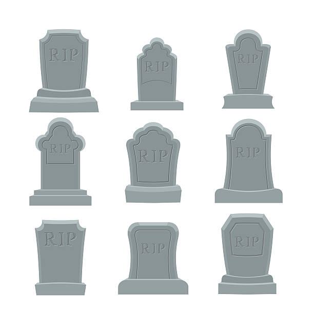 bildbanksillustrationer, clip art samt tecknat material och ikoner med tomb set. ancient rip. collection of gravestones. grave on white - grav